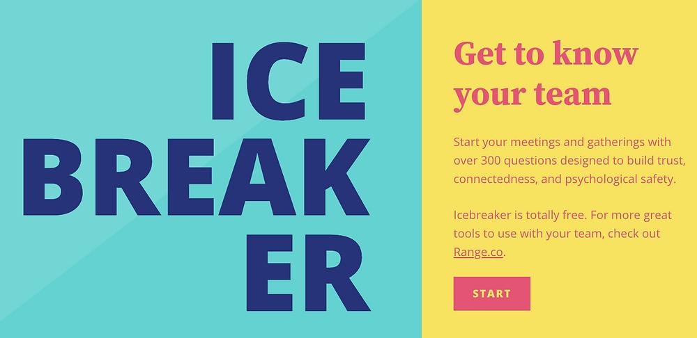 Startseite von https://icebreaker.range.co/