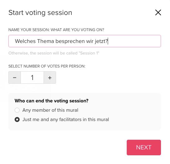 Screenshot von Ansicht zu den Einstellungen der Voting Session