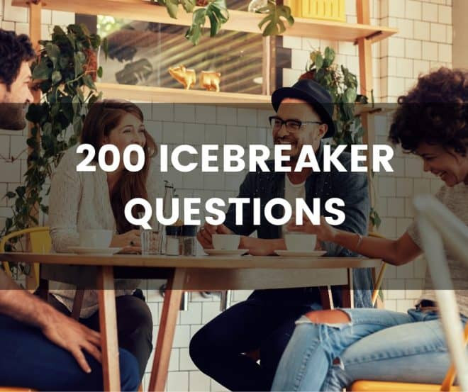 """Gruppe Lachender Menschen und der Text: """"200 Icebreaker Questions"""""""