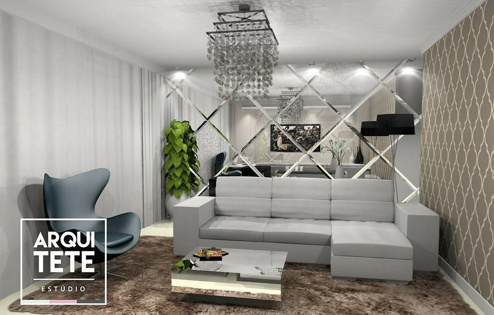 Foi pensado em um novo layout para a sala, com cores neutras que trazem a sensação de conforto para o ambiente, além disso, priorizamos em confeccionar um painel de espelho para dar amplitude ao ambiente.