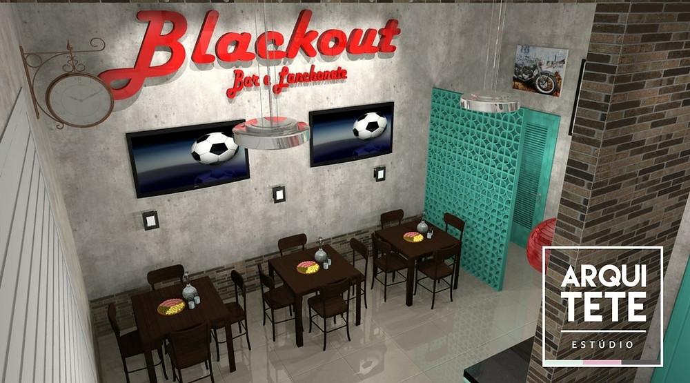O espaço projetado para o Blackout, na cidade de Sorocaba, tem duas finalidades, trabalhar como uma lanchonete na parte da manhã e tarde, e como um barzinho na parte noturna, atendendo a localidade que se encontra em um bairro novo em crescimento!
