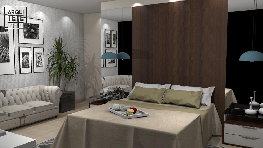 A suíte do casal é um ambiente mais clássico, porém com toques contemporâneos, sejam nas linhas retas dos móveis ou nos pendentes coloridos.