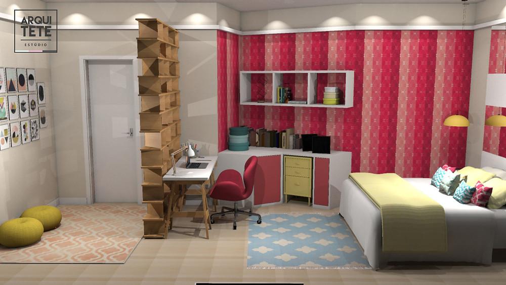 A redecoração da suíte feminina, localizada no condomínio Tivoli, na cidade de Sorocaba, foi pensada para uma mulher jovem, que precisa de praticidade e organização em seu espaço!