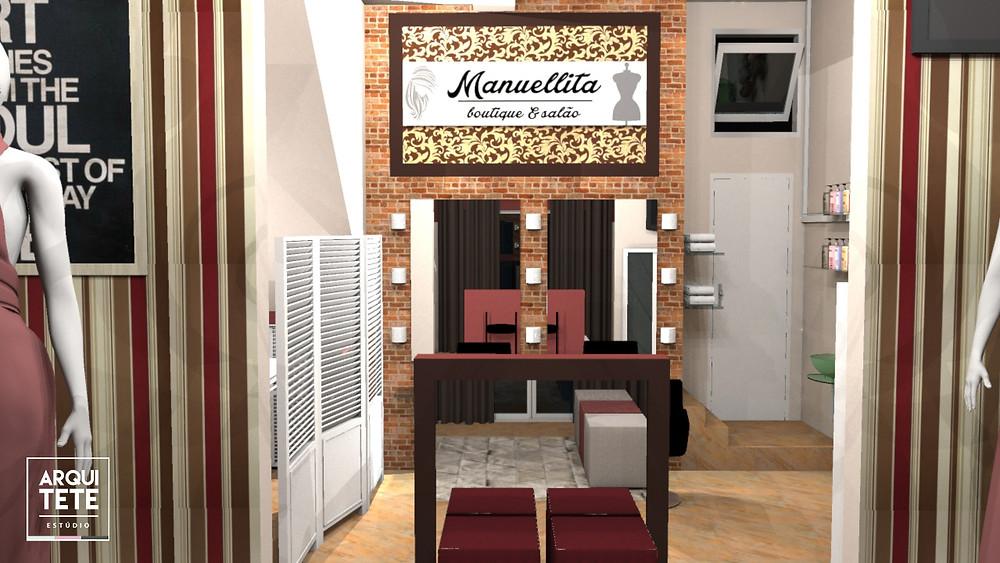 O salão + boutique é um espaço versátil que engloba duas atividades em um só lugar!   O projeto segue os tons de bordô, que se encontram em móveis, paredes, tecidos, estampas, entre outros.