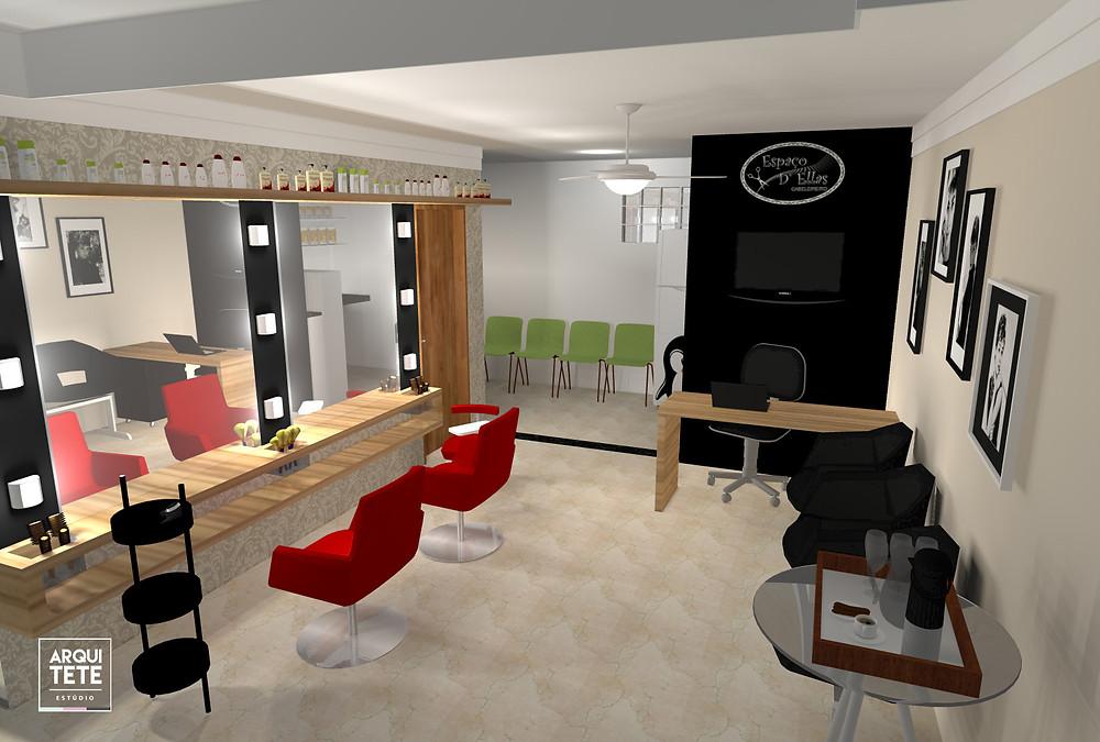 Em tons neutros de bege e preto se destaca o vermelho do mobiliário, que traz   vida e contribui para a estética espacial do ambiente!
