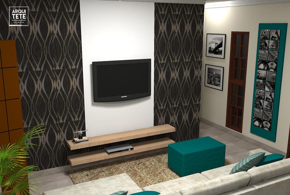 A redecoraçãoda sala de estar desta família de Sorocaba foi voltada para uma escala de cinza com tons em azul tiffany!
