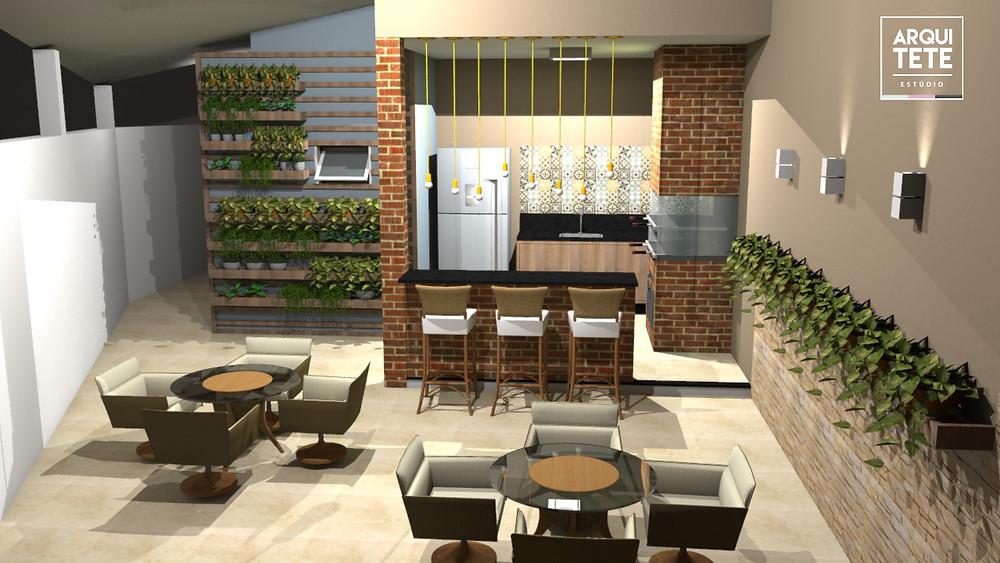 O projeto da área gourmet foi desenvolvido para um família que gosta de acabamentos rústicos, porém sem perder o toque urbano.