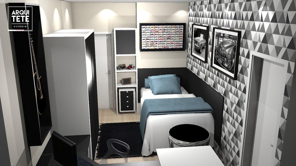 A redecoração da suíte masculina, localizada no condomínio Tivoli, na cidade de Sorocaba, foi pensada para um adolescente, onde seus hobbies foram fundamentais para a definição do projeto.
