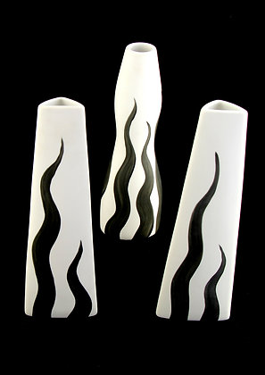 Satzas White & Black Flame Vase
