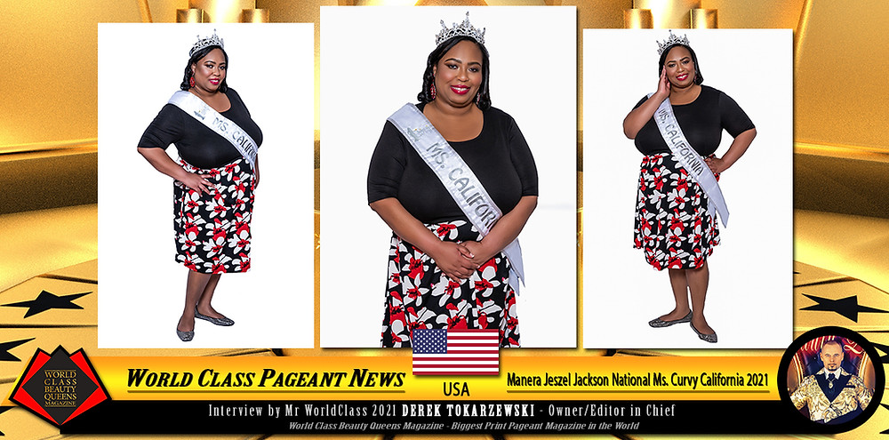 Manera Jeszel Jackson National Ms. Curvy California 2021, World Class Beauty Queens Magazine,
