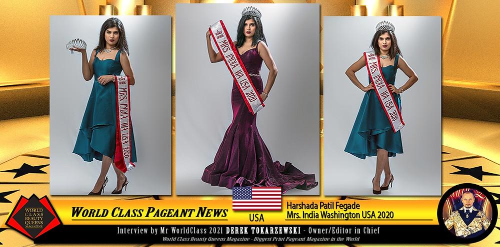 Harshada Patil Fegade Mrs. India Washington USA 2020, World Class Beauty Queens Magazine,