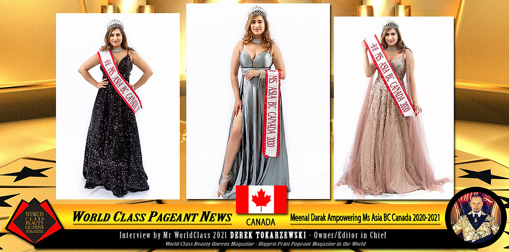 Meenal Darak Ampowering Ms Asia BC Canada 2020-2021, World Class Beauty Queens Magazine, Photo by Bruce Dyer and HMUA is Maneet Malhotra