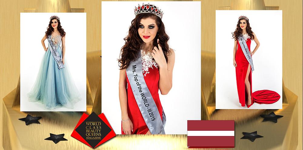 Jolanta Aleksāne Mrs. Top of The World 3th Runner Up 2019, World Class Beauty Queens Magazine,
