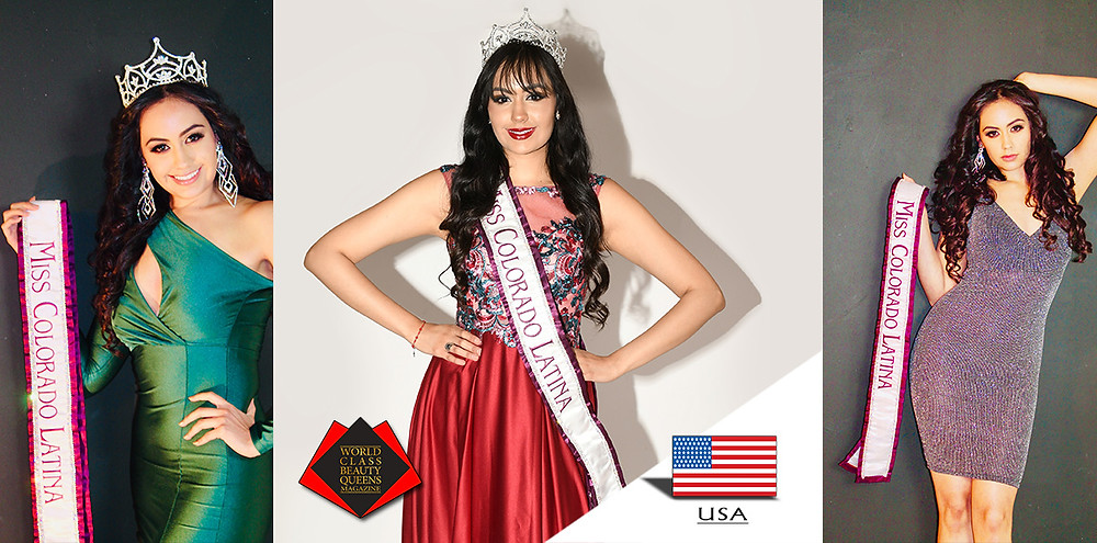 Vannesa Elizabeth Cruz Miss Colorado Latina 2019, World Class Beauty Queens Magazine, Picture 1 and 3 by Jovani Soto, Picture 2 by MVA Photography