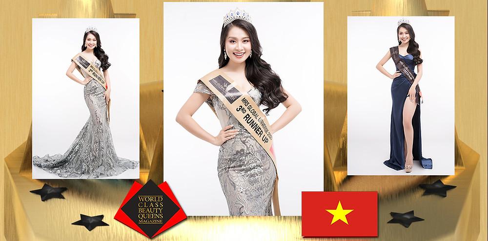 Le Ha Phuong Mrs Global Universe 2020 3rd R.U., World Class Beauty Queens Magazine, Photo: Nguyen Minh Tuan, Hair Stylist and Make up Artist: Thanh Hang, Dress: Thanh Hang