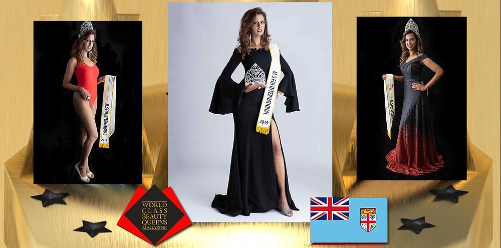 Shelaila Swastika Singh MS Fiji International 2019, World Class Beauty Queens Magazine, Photo by Kathy Servian Makeup by GLOSS Gowns Khazana Exotic Designer Collections