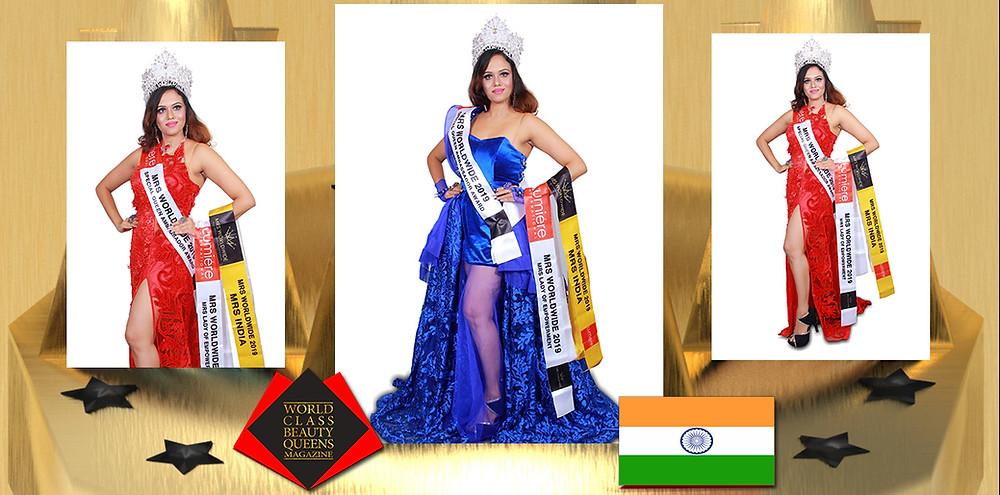 Shwetha Niranjan Mrs India Worldwide Winner 2018, World Class Beauty Queens Magazine,