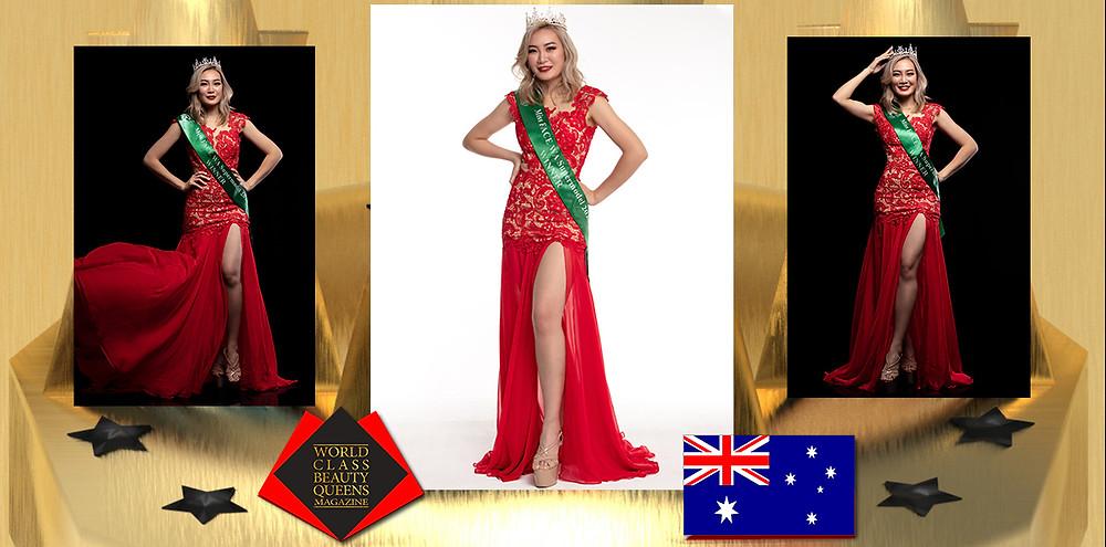 Cynthia Lim Miss FACE WA Supermodel 2020, World Class Beauty Queens Magazine, Photographer: Richard Lancaster, Richard Photography, Make Up Artist / Hair Stylist: Jenny Foo, Dress: Dress Hire Perth ,Heels: Bragais Heels