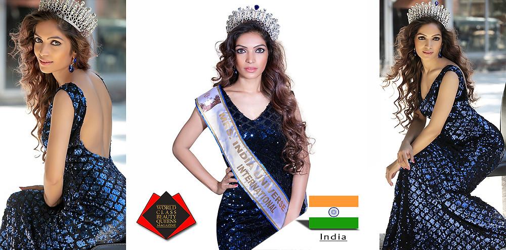 Tina Mali Mrs India Universe International 2018, World Class Beauty Queens Magazine, Photo by Maya Singh, Makeup by Mahendra Gupta, Stylist Poem Thakur,