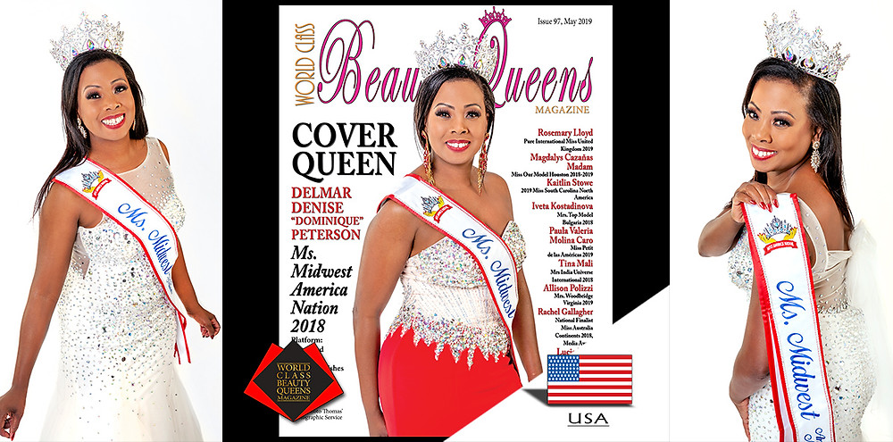 "Delmar Denise ""Dominique"" Peterson Ms Midwest America Nation 2018, World Class Beauty Queens Magazine,"