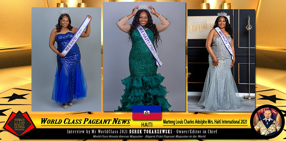 Marteng Louis Charles Adolphe Mrs. Haiti International 2021, World Class Beauty Queens Magazine, On location pictures: Maybeline photography, Studio Pictures by: Lamar Photography