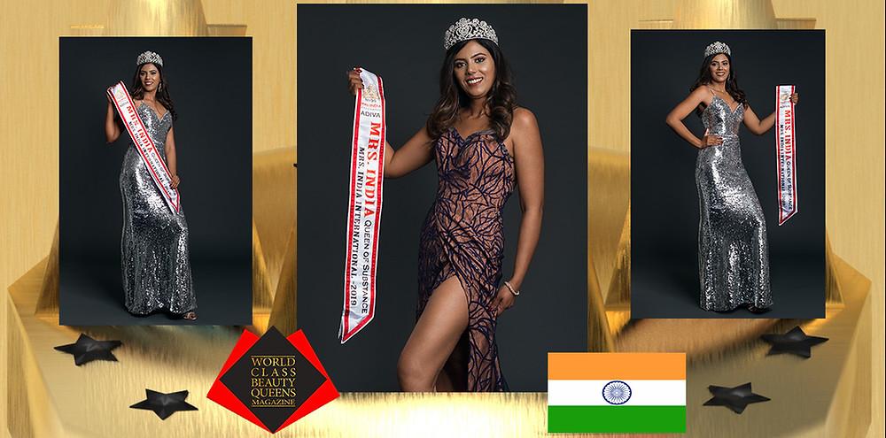 Anu Correya Mrs India International 2019, World Class Beauty Queens Magazine,
