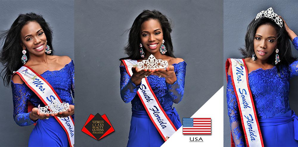 Vida Hargrett Mrs. South Florida America 2020, World Class Beauty Queens Magazine,