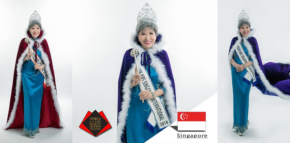Teh Siew Peng Senior Mrs Singapore International 2018, World Class Beauty Queens Magazine