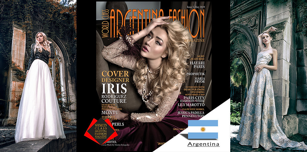 Designer Iris Rodriguez Couture, World Class Argentina Fashion Magazine, Photo by Montu, Cover Girl Angelina Kali