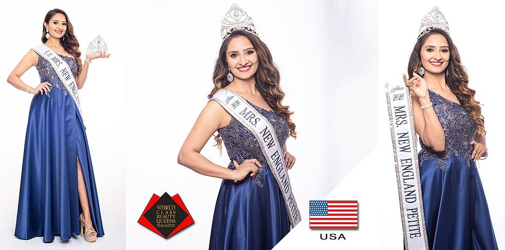 Rumana Kumar Mrs. New England Petite 2020, World Class Beauty Queens Magazine, Photo by Mark Jhonson