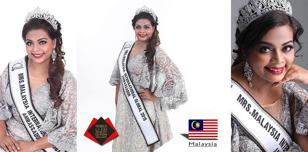 Pramilla Sandrasagran Mrs Malaysia International Global 2019 Ambassador, World Class Beauty Queens Magazine,