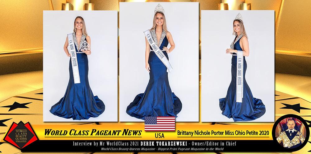 Brittany Nichole Porter Miss Ohio Petite 2020, World Class Beauty Queens Magazine,