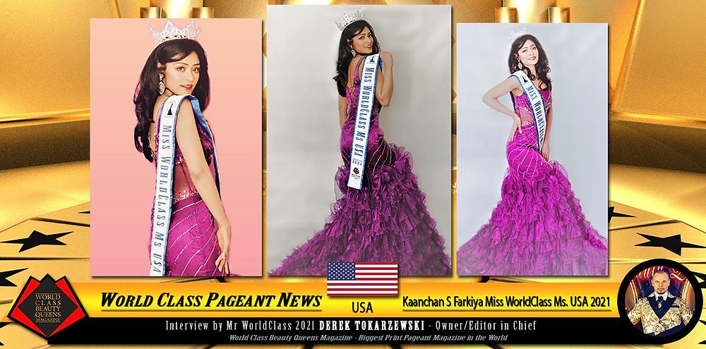 Kaanchan S Farkiya, Miss WorldClass Ms USA 2021, World Class Beauty Queens Magazine,