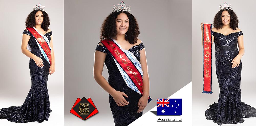 Josaphine Atawhai Hikairo Miss Teen of Australia 2018, World Class Beauty Queens Magazine,
