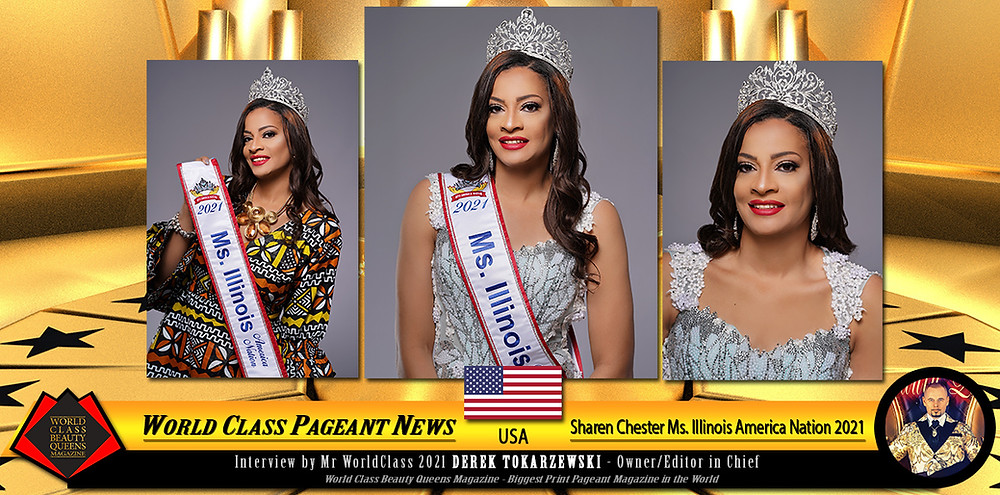 Sharen Chester Ms. Illinois America Nation 2021, World Class Beauty Queens Magazine,
