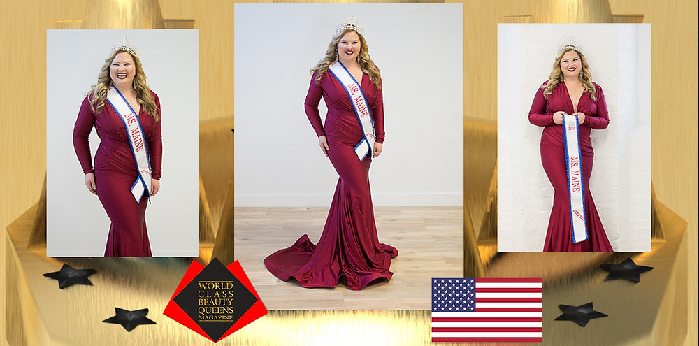 Crystal Nicole Annis Ms. Maine American Women of Service 2020, World Class Beauty Queens Magazine, Mandy McQueen Photography. Makeup Flawless Pros, Stephanie Lyman and gowns by Blush Bridal and Formal.