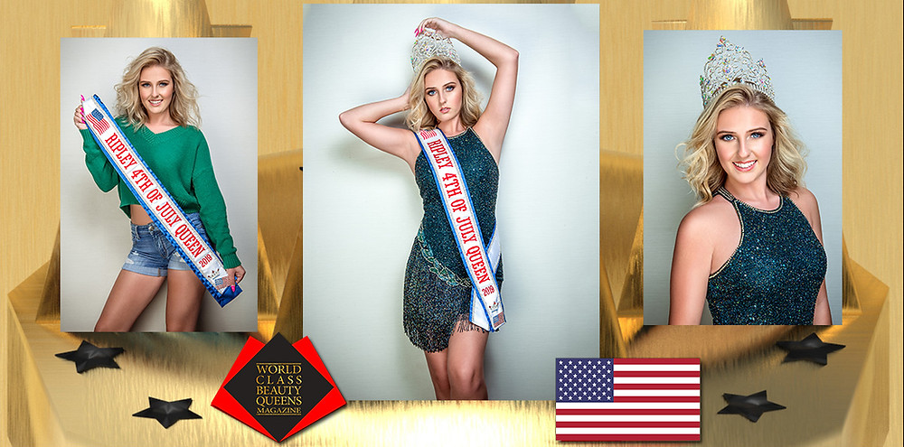 Kelsey Lee Hill Miss Ripley 4th of July 2019, World Class Beauty Queens Magazine, Photo by  Benizo.com