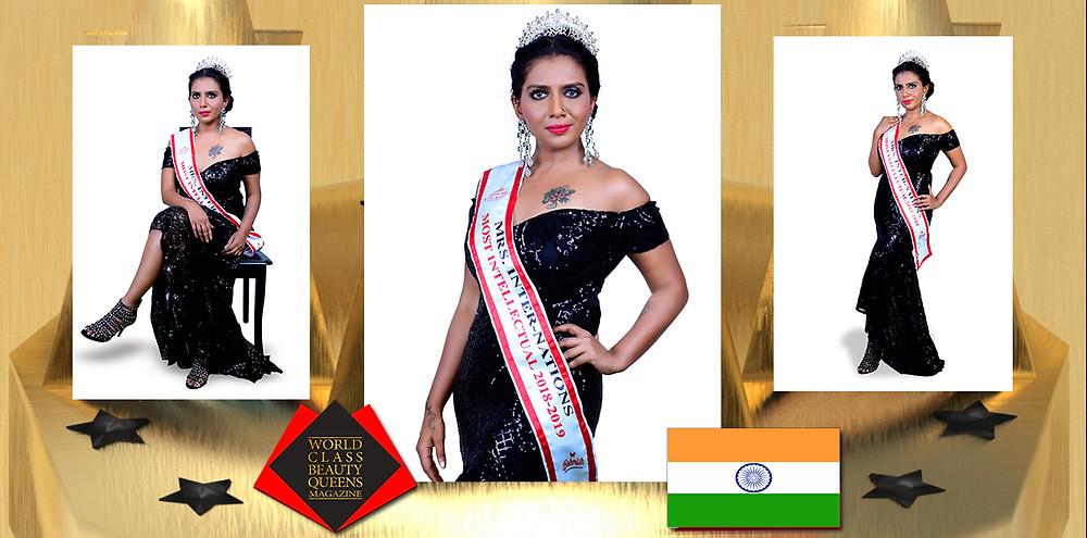 Dr. Nora Rashmi Serao Mrs Internations Most Intellectual 2018, World Class Beauty Queens Magazine, Photo by Suraj photography, Makeovers by Laksha
