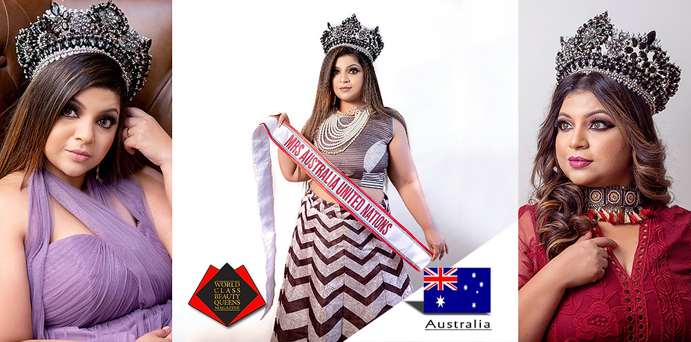 Saritha Ram Menon Mrs Australia United Nations 2019, World Class Beauty Queens Magazine
