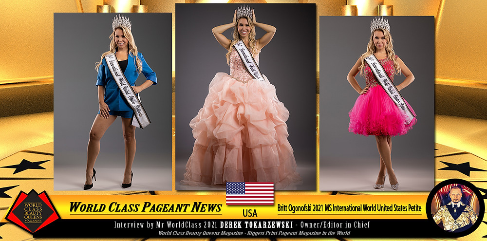 Britt Ogonofski 2021 MS International World United States Petite, World Class Beauty Queens Magazine, Photo by Vu Media Group