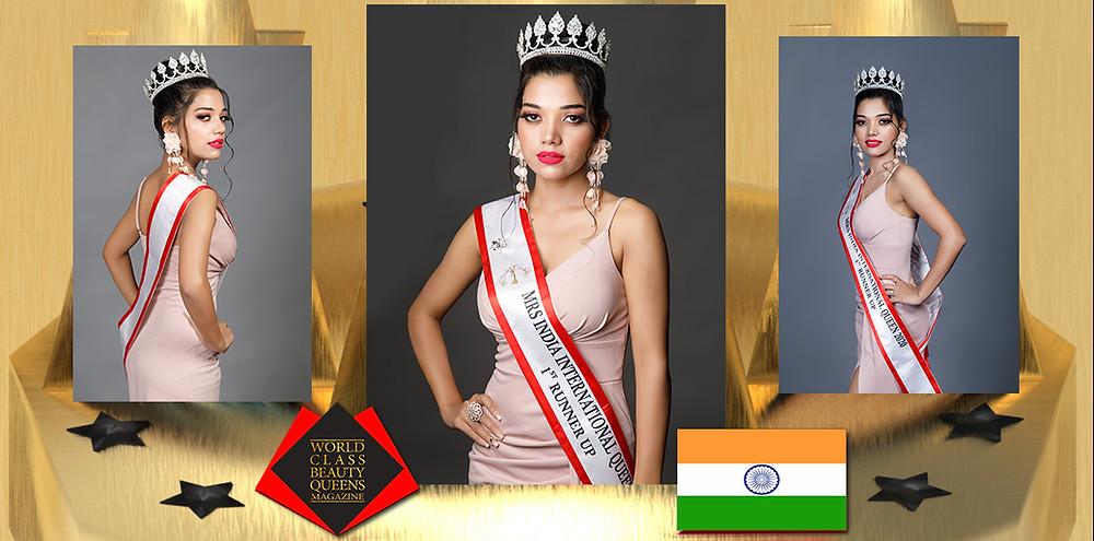 Pooja Gangyan Mrs India International Queen 2020 1st Runner Up, World Class Beauty Queens Magazine,