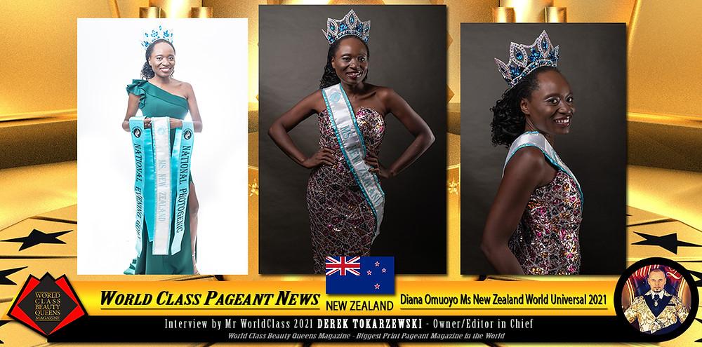 Diana Omuoyo Ms New Zealand World Universal 2021, World Class Beauty Queens Magazine,