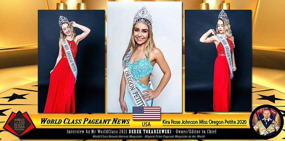 Kira Rose Johnson Miss Oregon Petite 2020, World Class Beauty Queens Magazine,