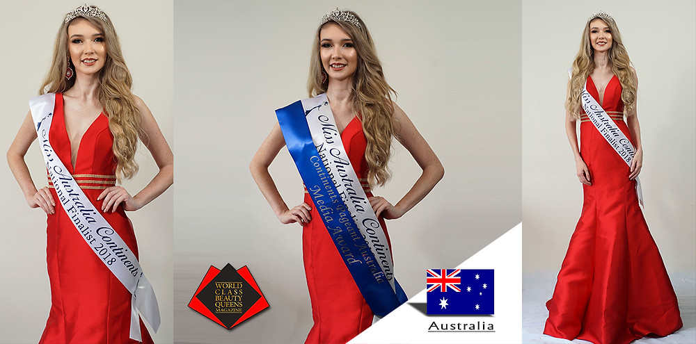 Rachel Gallagher National Finalist Miss Australia Continents 2018, Media Award, World Class Beauty Queens Magazine, Photo by Philip Warder