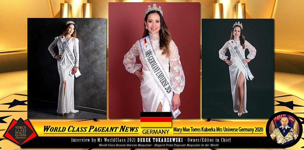 Mary Mae Torres Kuberka Mrs Universe Germany 2020, World Class Beauty Queens Magazine,