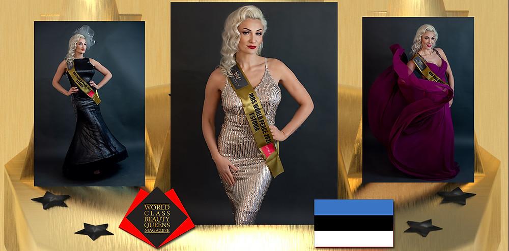 Jane Sakala Mrs World Peace Estonia 2021, World Class Beauty Queens Magazine, Photo by HEILI KIVIMÄE, Hair and makeup by MERLIT VELDI