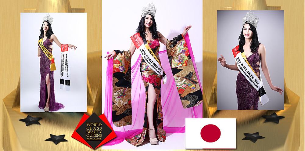 Chieko Arai Mrs East Asia Worldwide 2019 , World Class Beauty Queens Magazine,