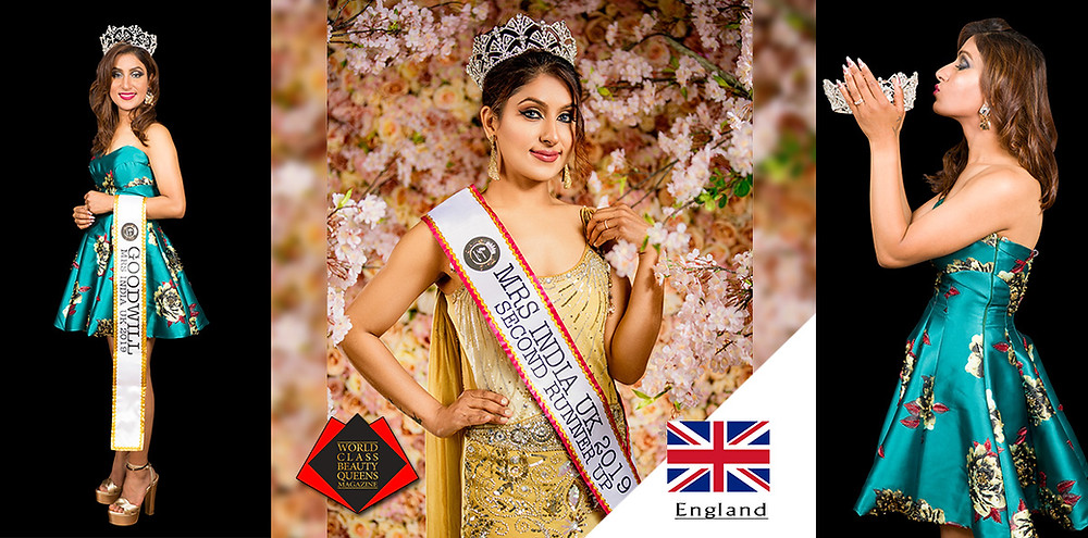 Dr Neha Sharma Mrs India UK 2019 2nd R.U. , World Class Beauty Queens Magazine, Flower photo by Photograpger: Digpal Singh Rathore(patronproduction.com)  Makeup artist:Preety Tarsariya, Other Photos by: Photographer: UE MEDIA Videography & Photography Makeup artist: Hadasah Holder (Instagram: feel_prestige)