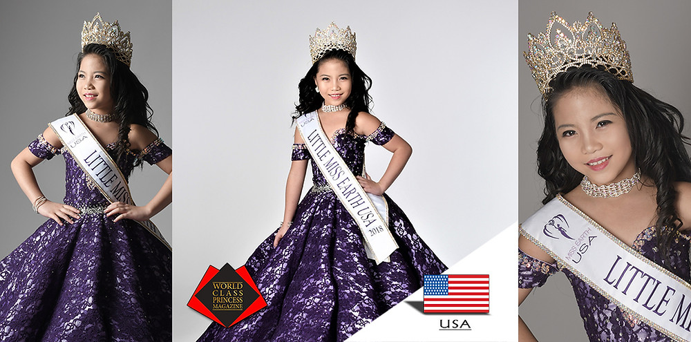 Crystal Saphire Little Miss Earth USA 2018, World Class Princess Magazine,