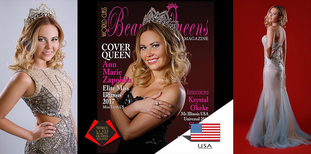 Anna Marie Zapolska Elite Miss Illinois 2017, World Class Beauty Queens Magazine, Photo by Eva Flis